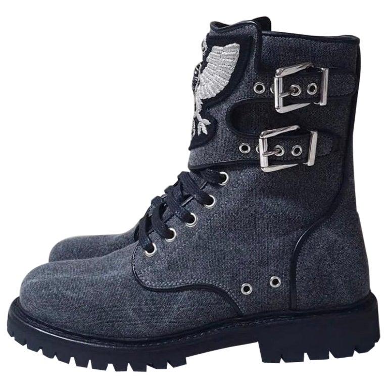 NWOB Balmain Gray Textile Combat Boots