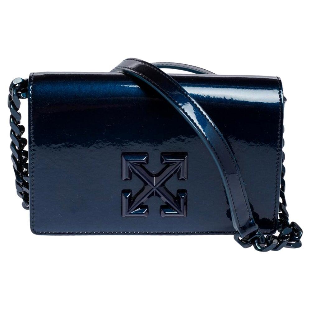 Off-White Blue Patent Leather Signature Cross Crossbody Bag