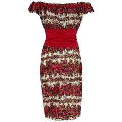 1950's Peggy Hunt Magenta Roses Floral Pleated Cotton Off-Shoulder Wiggle Dress