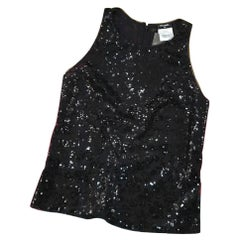 Chanel Sheer Sleeveless Shell  Sequin Camellia Embroidery Top