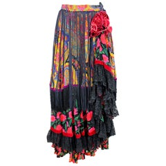 Dolce & Gabbana Floral Fringes Lace Tulle Skirt Haute Couture 2000s