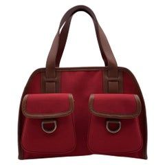 Burberry Red Canvas Satchel Handbag with Front Pockets