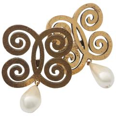 Chanel Gold/Ivory Clip on Curved Earrings