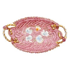 Mica Italy Hand Painted Pink and Gold Oval Ceramic Dish Centrepiece circa 1950s