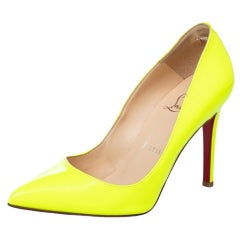 Christian Louboutin Neon Green Leather Pigalle Follies Pointed Toe Pumps Size 35