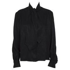 Yves Saint Laurent vintage 1970s jet-black silk classic scarf tie blouse/shirt