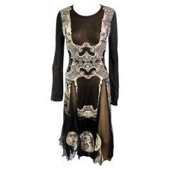 Jean Paul Gaultier Unworn Logo Sheer Panels Knitted Midi Dress