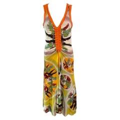Jean Paul Gaultier Soleil Tropical Print Mesh Maxi Dress