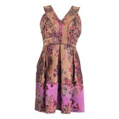 ERDEM lilac FABIENNE FRINGED JACQUARD Sleeveless Shift Dress S