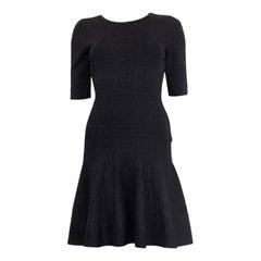 HERVE LEGER black CLARA LUREX DROP WAIST Short Sleeve Dress S