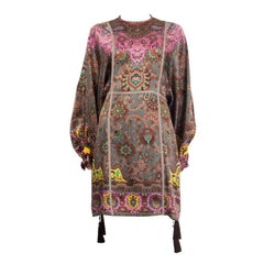 ETRO brown pink silk PAISLEY BATWING Long Sleeve Shift Dress 42 M
