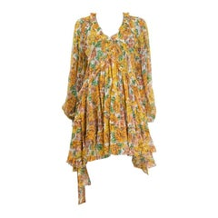 ZIMMERMANN yellow silk chiffon FLORAL POPPY Long Sleeve Shift Dress 1 S