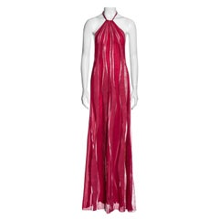 Gianni Versace pink silk, leather and lace halter neck maxi dress, fw 2000