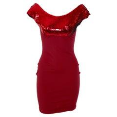 Katharine Hamnett documented 1980s sequin deep wine red dress