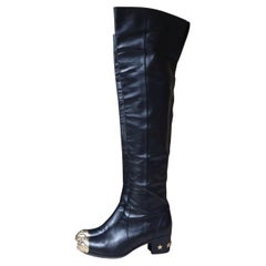 Chanel Black Leather Paris Dallas Metal Cap Toe Thigh High Boots