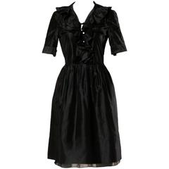 Chloe Black Silk Taffeta Dress wth Ruffled Collar