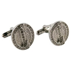 Christian Dior Vintage Art Deco Inspired Silver Toned Jewelled CD Cufflinks