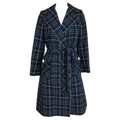 Adele Simpson 1960s Navy & White Wool Plaid  Wrap Coat
