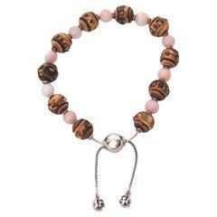 Gucci Sterling Silver & Rose Quartz and Brown Stone Bead Slide Bracelet Vintage