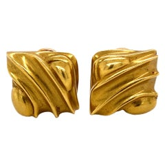 BARRY KIESELSTEIN CORD Signed Square Wave Designer Gold Clip-on Earrings