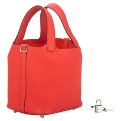 New Hermès 18cm Rose Texas Picotin in Box