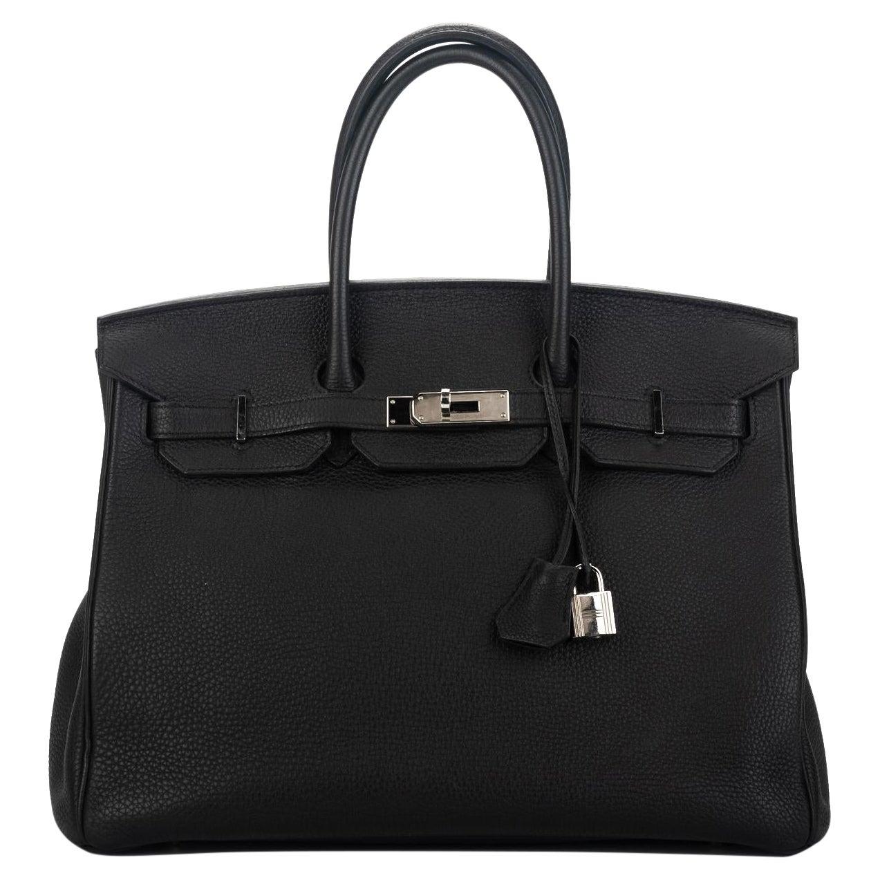 Hermes Birkin 35 Black Togo Palladium Bag