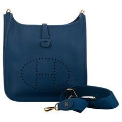 New in Box Hermes Evelyne PM Blue Nuit Gold Bag