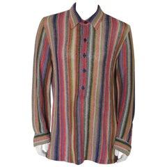Vintage 1990s Missoni Linen Knit Multicolor Pullover Shirt