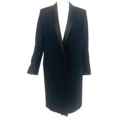 Celine Phoebe Philo 2012 Crombie Coat Dark Blue Wool & Black Satin 34