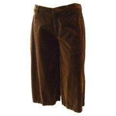 Jean Paul Gaultier short Brown Velvet pants