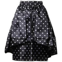 Loris Azzaro Vintage Polka Dot Origami Pleated Peplum Skirt