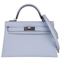 Hermes Kelly 20 Mini Sellier Bag Bleu Brume Epsom Leather Palladium Hardware