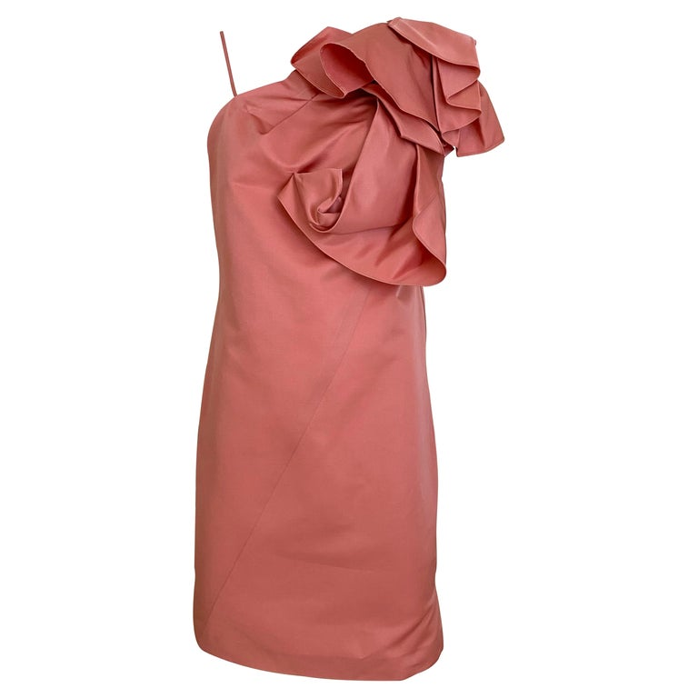 Gianfranco Ferre Coral silk cocktail Dress For Sale
