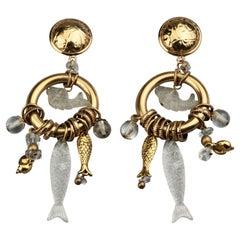 Vintage ZOE COSTE Lucite Fish Sea Shells Charm Dangling Earrings