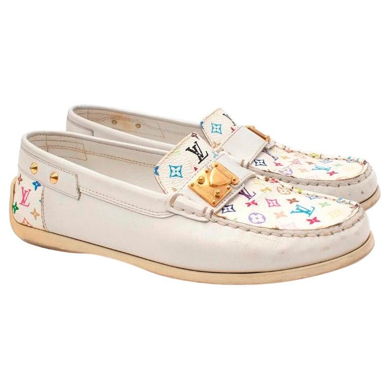 Louis Vuitton Multicolore Monogram White Leather Loafers - US 37