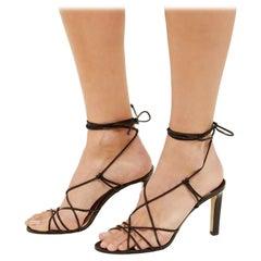 Jimmy Choo Tao Black Wrap Around Leather Heeled Sandals - US 5.5