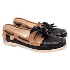 Chanel Suede Black & Beige Lace Up Moccasins