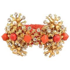 Vintage Faux Coral Clamper Bracelet