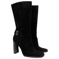 Gucci Black Suede Square Toe Heeled Boots