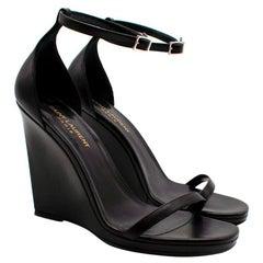 Saint Laurent Black Smooth Leather Wedges