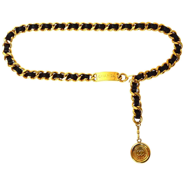chanel vintage black leather woven gold chain link belt at