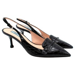 Prada Black Leather Croc Embossed Slingback Sandals