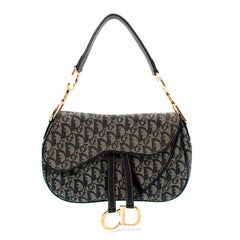Dior Oblique Navy Jacquard Double Saddle Bag