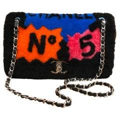 2014 Limited Edition Chanel Shearling Pop Art No. 5 Flap Bag