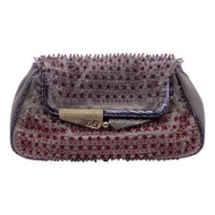 Fendi Gray Satin Folding Mini Clutch Evening Bag with Beads