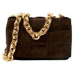 Bottega Veneta The Chain Cassette Brown Suede Shoulder Bag