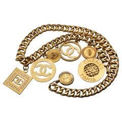 Vintage Jumbo CHANEL Iconic Logo Medallion Charm Necklace Belt