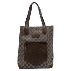 Gucci Vintage Light Brown GG Monogram Canvas Shopping Bag Tote