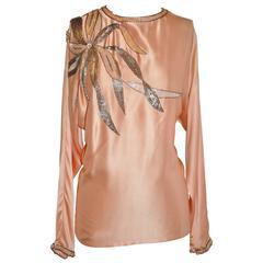 Damon for Saks Fifth Avenue Powder Pink Silk Crepe de Chine Sequin Blouse