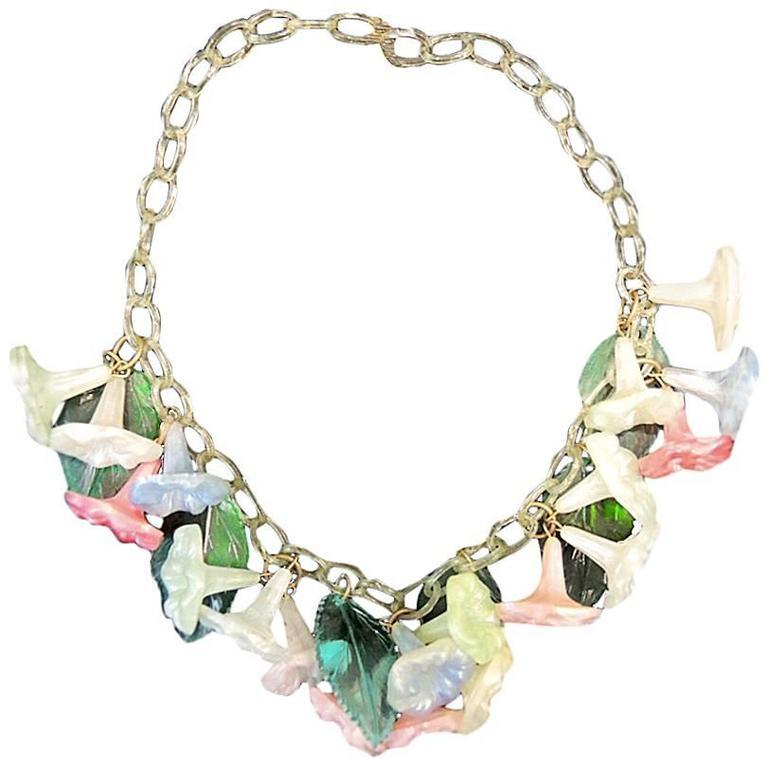 Vintage Deco Celluloid Multi-Color Floral Necklace For Sale